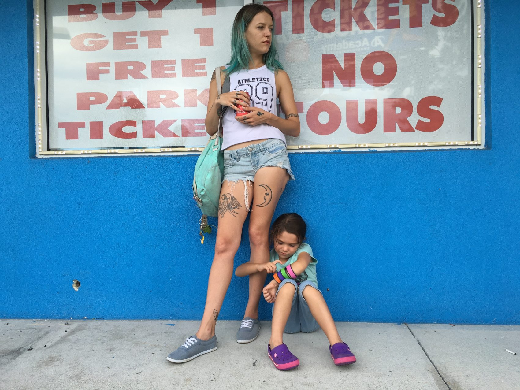 Bria Vinaite and Brooklynn Prince in Sean Baker's The Florida Project