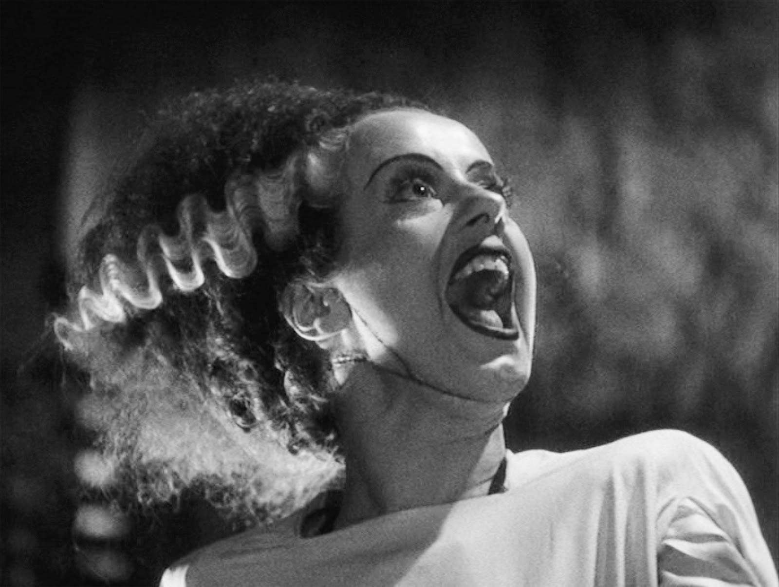 Iconic Elsa Lancaster scream in Bride of Frankenstein