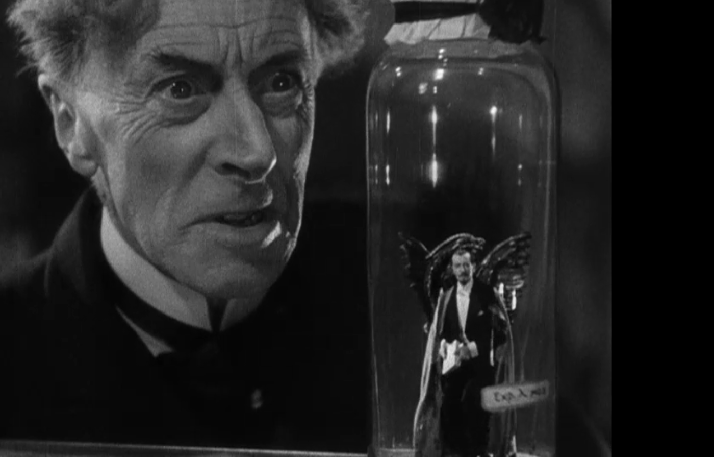 Dr. Pretorius and a homunculus in Bride of Frankenstein