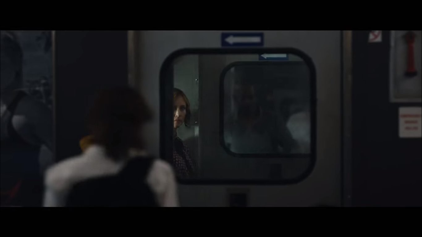 Half-obscured Vera Farmiga in The Commuter