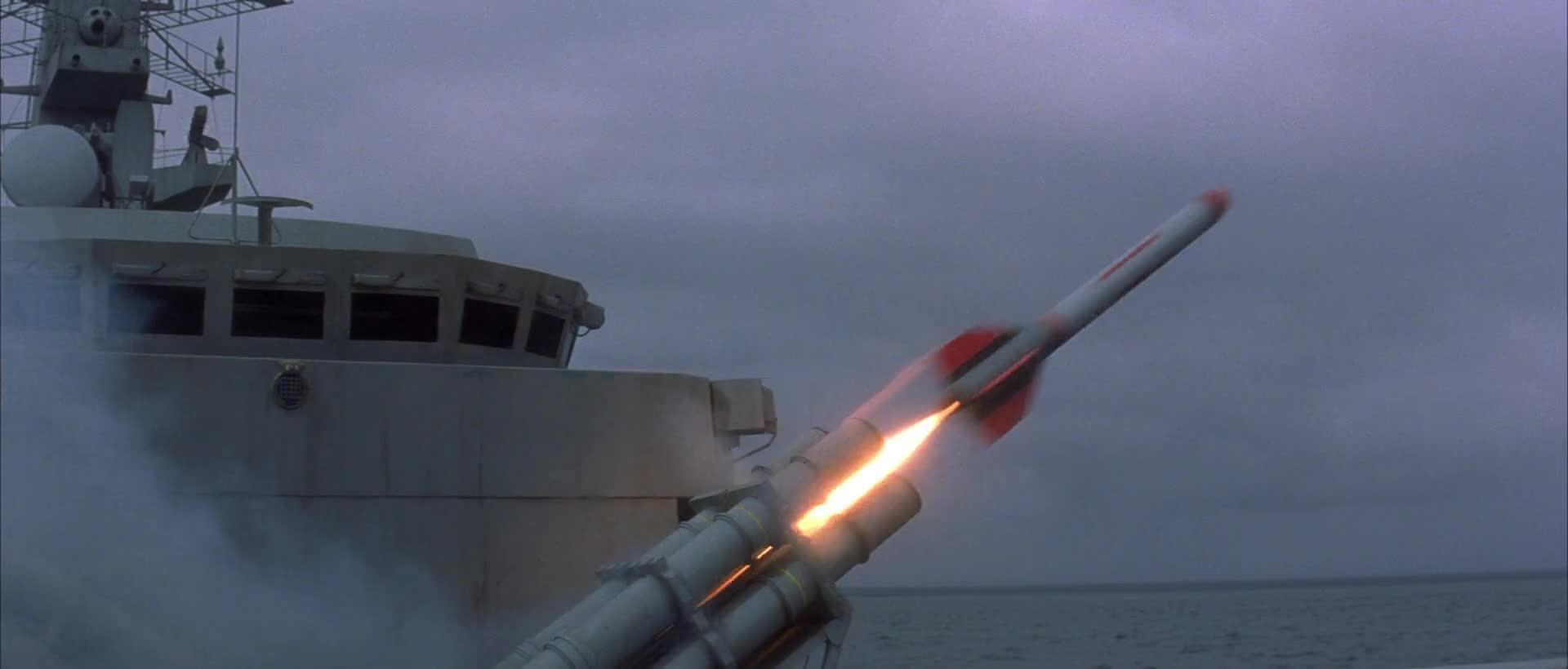 Phallic rockets firing in James Bond Tomorrow Never Dies