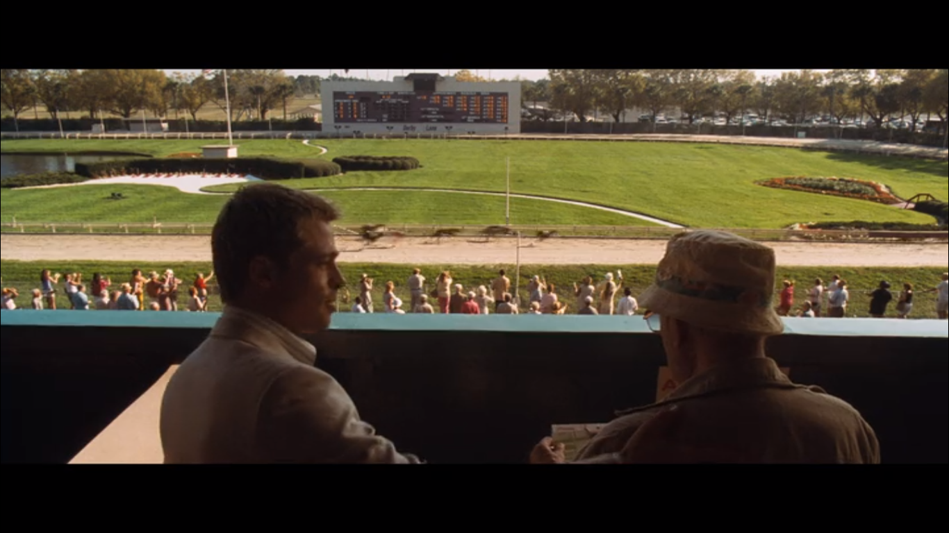 Brad Pitt and Carl Reiner at the dog track in Ocean's Eleven