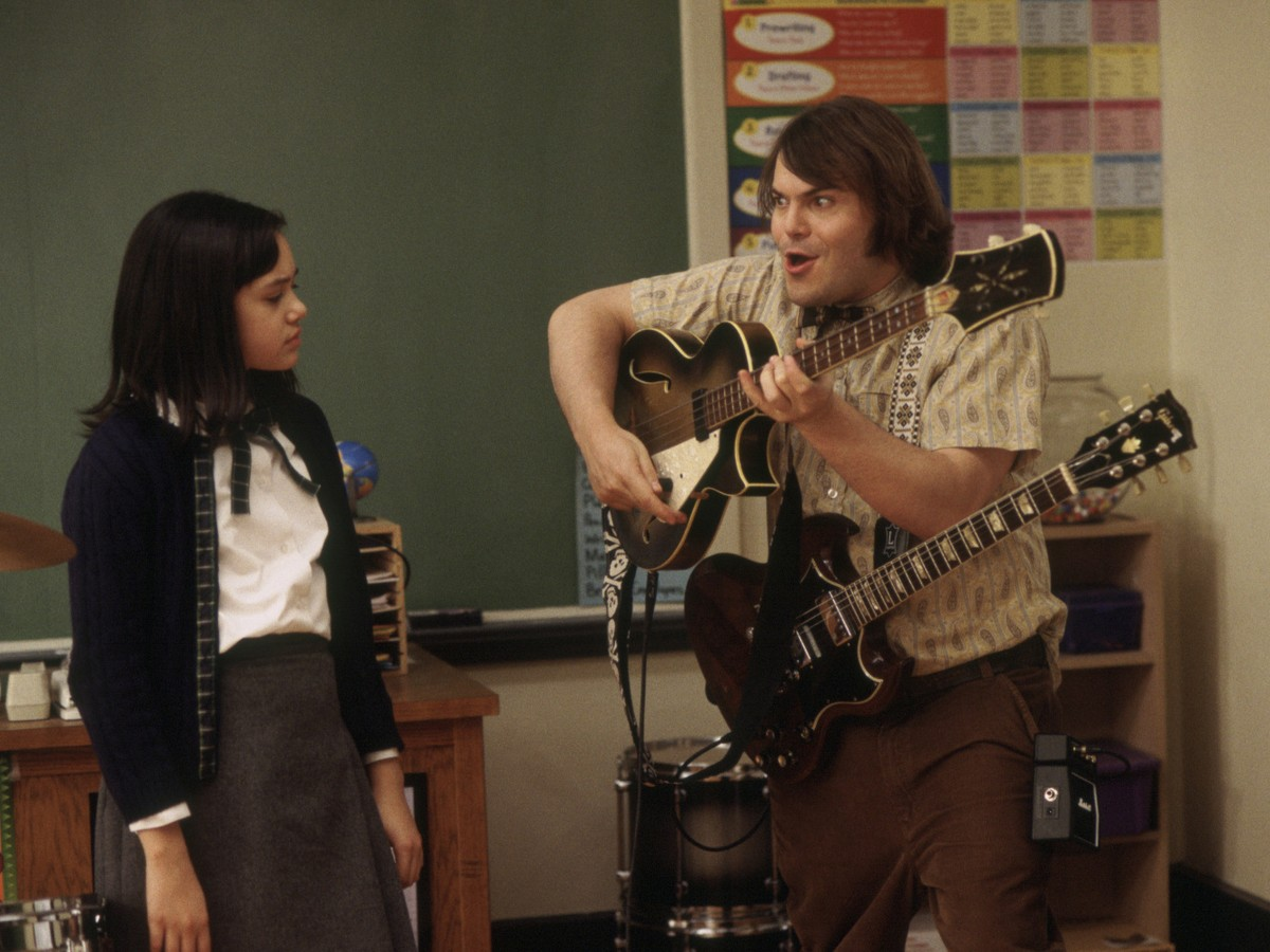 Jack Black with 2 guitars in Linklater's School of Rock