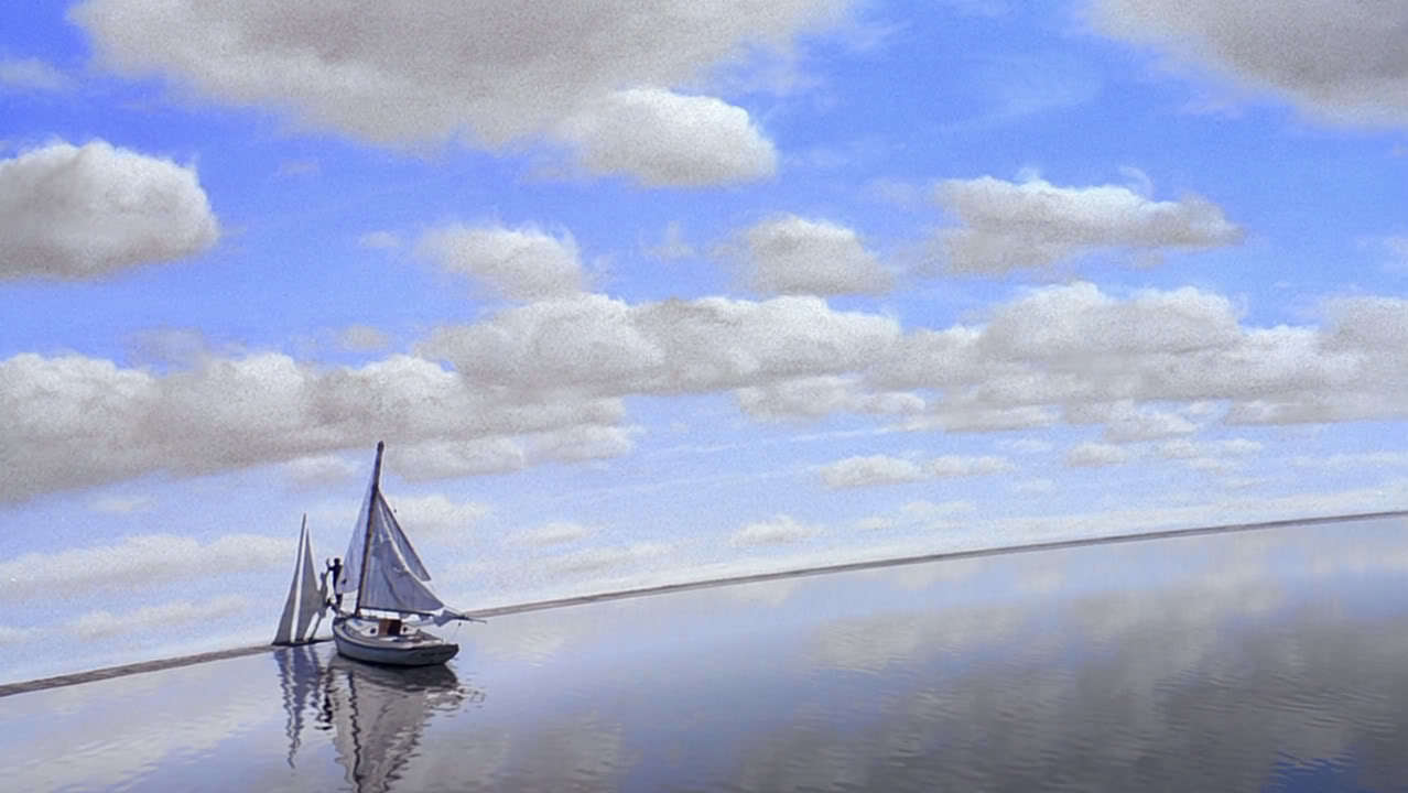 Boat and horizon in The Truman Show