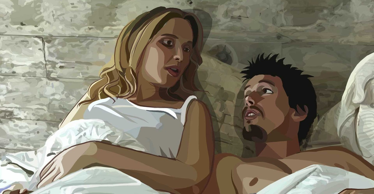 Julie Delpy and Ethan Hawke in Linklater's Waking Life