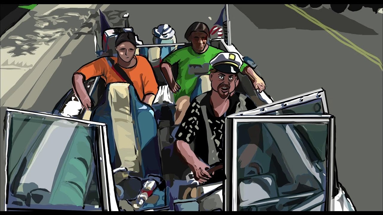 Boat car in Linklater's Waking Life