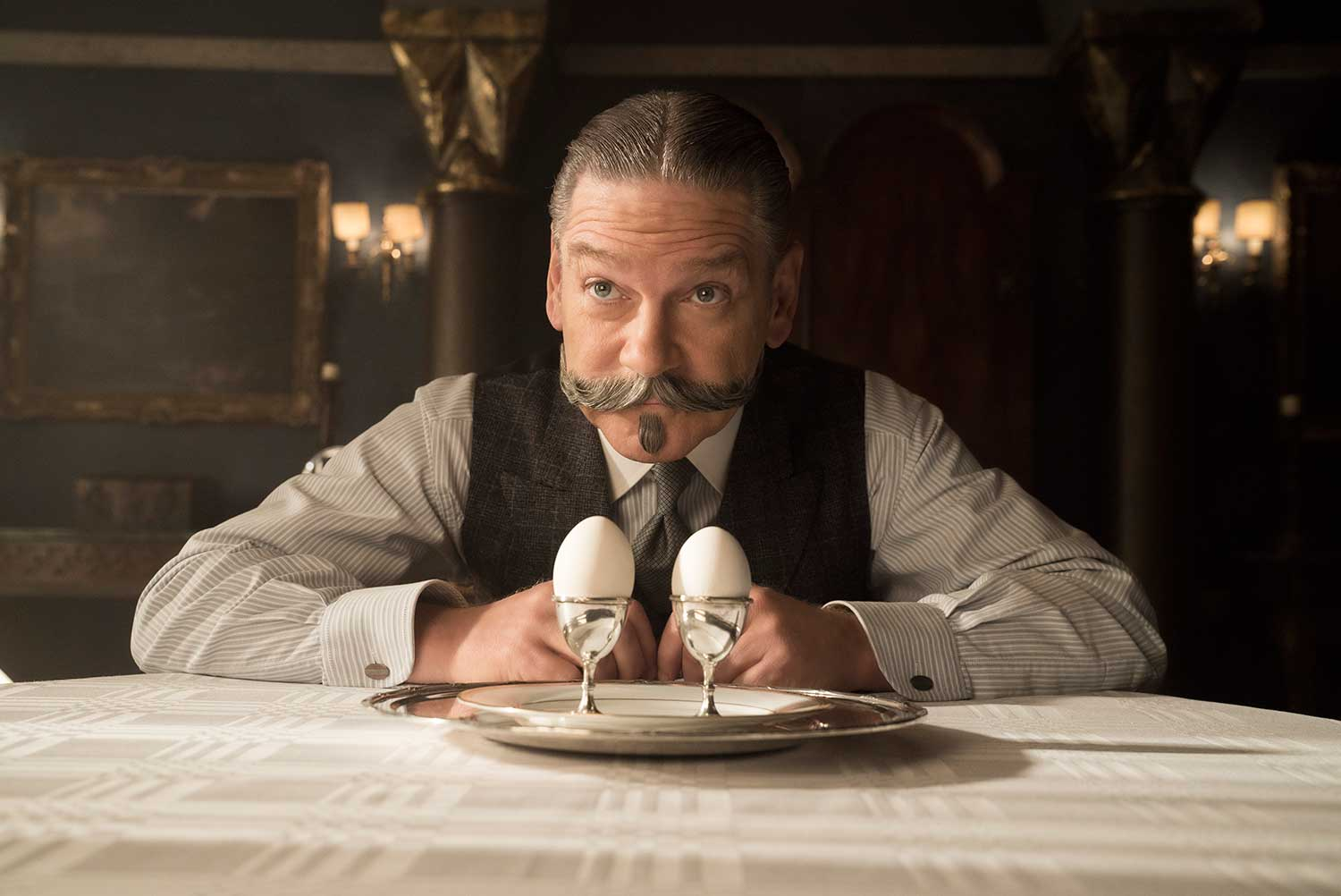 Kenneth Branagh as Poirot in Murder on the Orient Express
