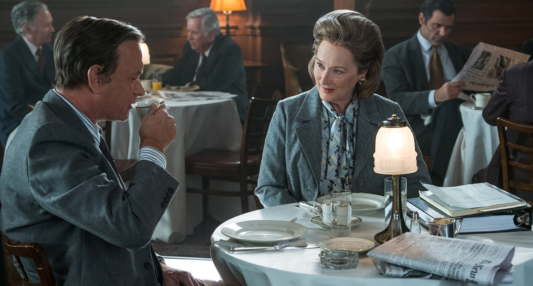Tom Hanks and Meryl Streep dining in Steven Spielberg's The Post