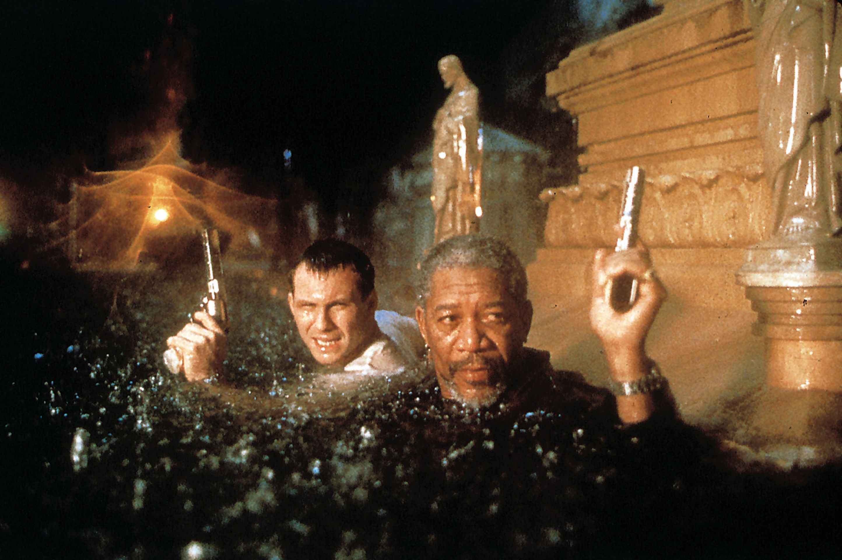 Christian Slater and Morgan Freeman in Hard Rain