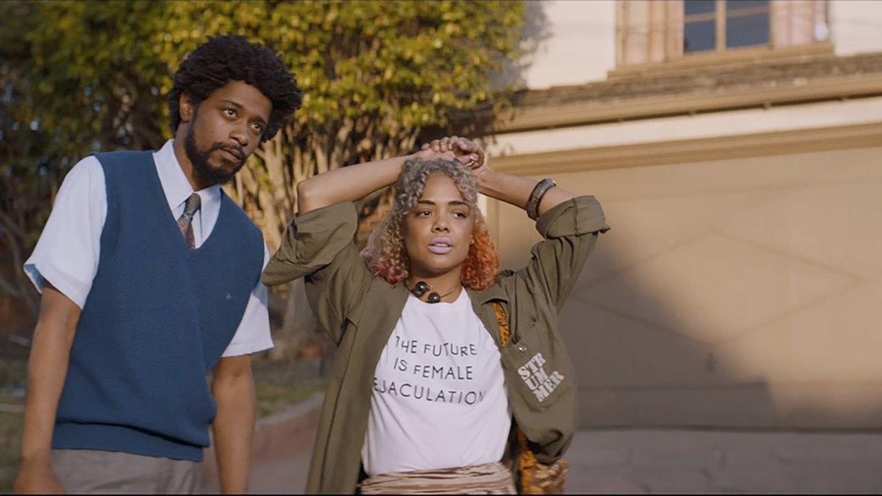 Lakeith Stanfield and Tessa Thompson in Boots Riley's Sorry To Bother You (2018)