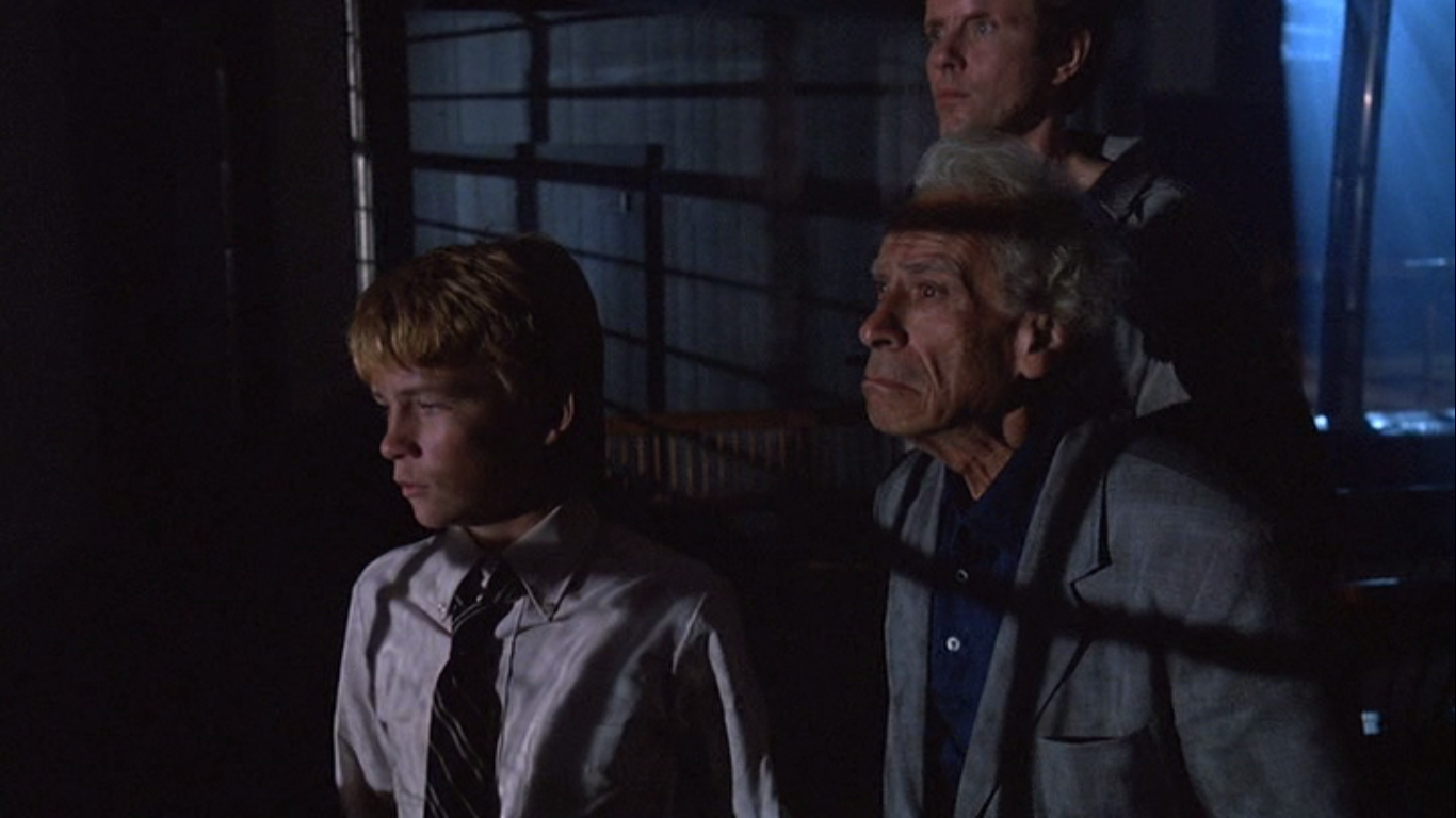 Sam Fuller, Michael Moriarty and Ricky Addison Reed in Larry Cohen's horror A Return to Salem's Lot